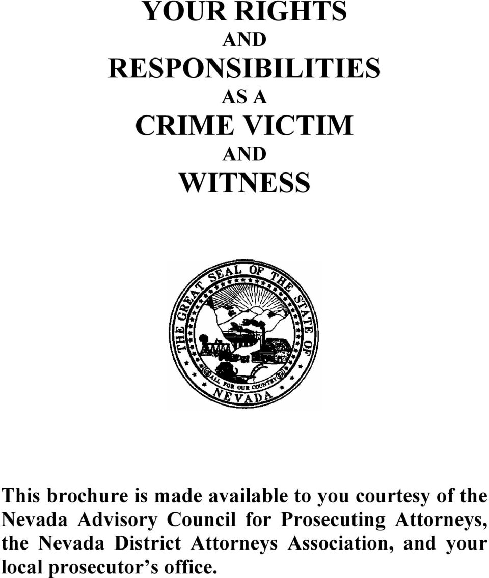 the Nevada Advisory Council for Prosecuting Attorneys, the