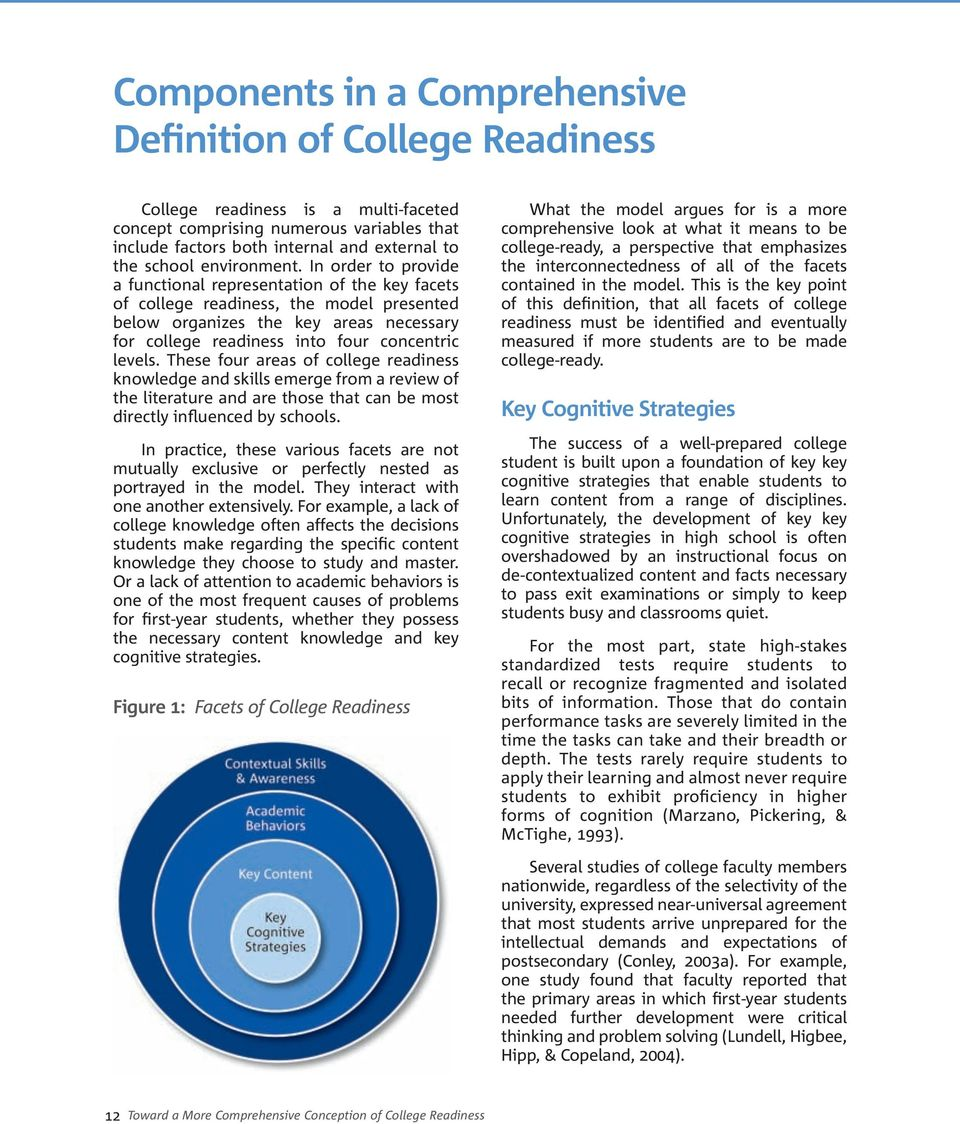 In order to provide a functional representation of the key facets of college readiness, the model presented below organizes the key areas necessary for college readiness into four concentric levels.