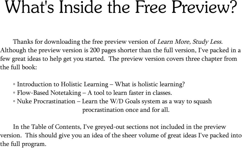 The preview version covers three chapter from the full book: Introduction to Holistic Learning What is holistic learning?