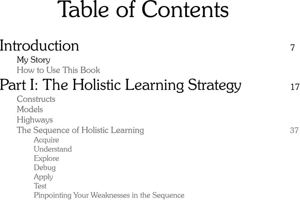 Highways The Sequence of Holistic Learning 37 Acquire