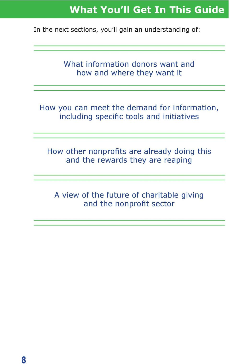 information, including specific tools and initiatives How other nonprofits are already doing