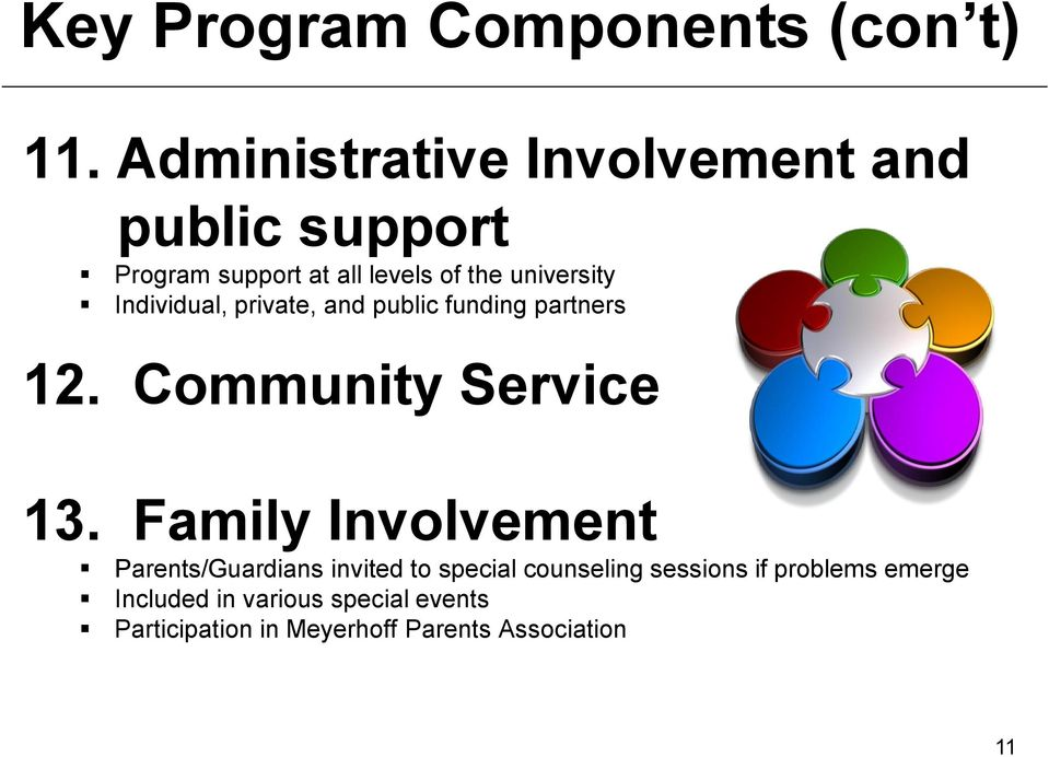 Individual, private, and public funding partners 12. Community Service 13.