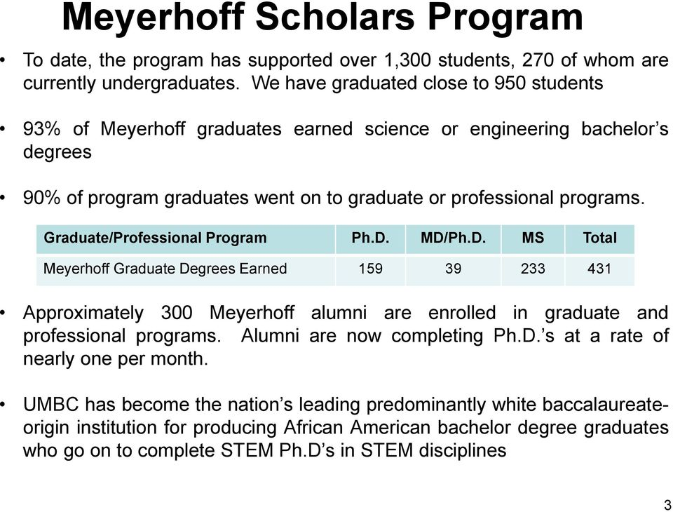 Graduate/Professional Program Ph.D. MD/Ph.D. MS Total Meyerhoff Graduate Degrees Earned 159 39 233 431 Approximately 300 Meyerhoff alumni are enrolled in graduate and professional programs.