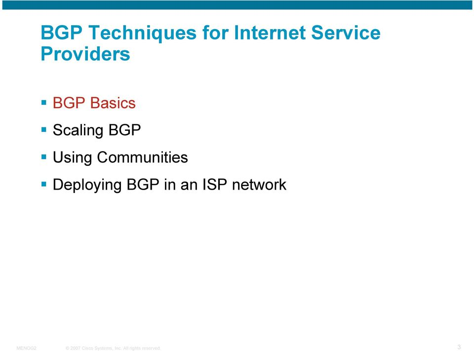 Scaling BGP Using Communities