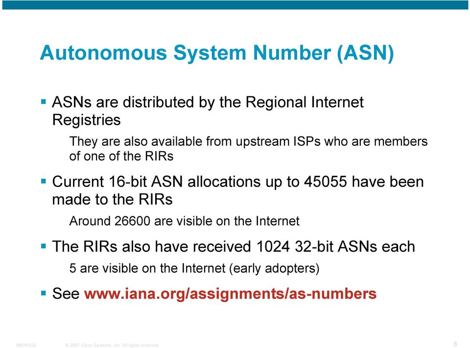 45055 have been made to the RIRs Around 26600 are visible on the Internet The RIRs also have received