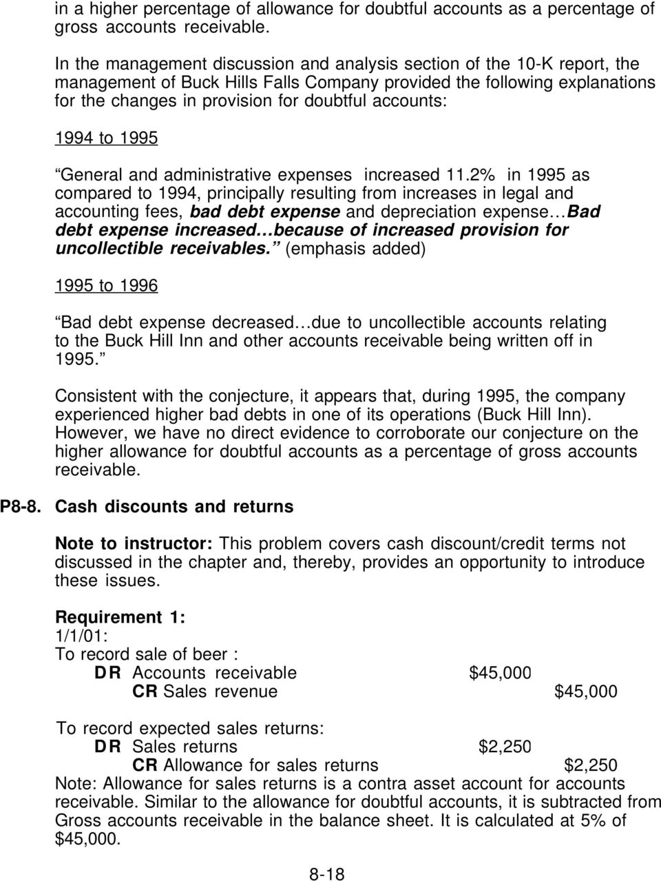 accounts: 1994 to 1995 General and administrative expenses increased 11.