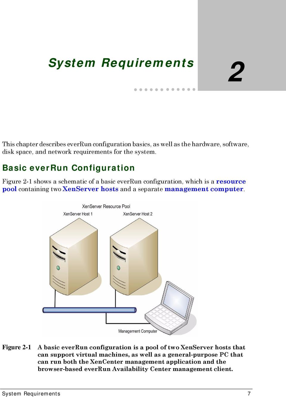 Basic everrun Configuration Figure 2-1 shows a schematic of a basic everrun configuration, which is a resource pool containing two XenServer hosts and a