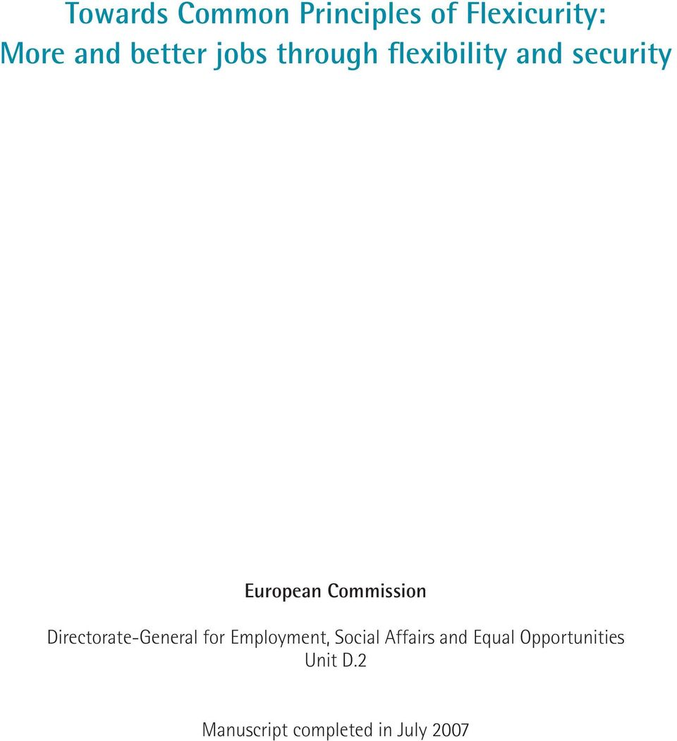Directorate-General for Employment, Social Affairs and