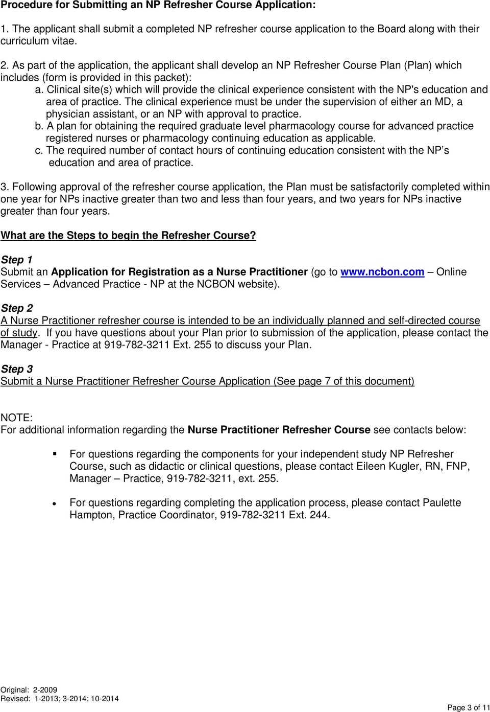 Nurse practitioner refresher course application packet pdf clinical sites which will provide the clinical experience consistent with the nps education 1betcityfo Images