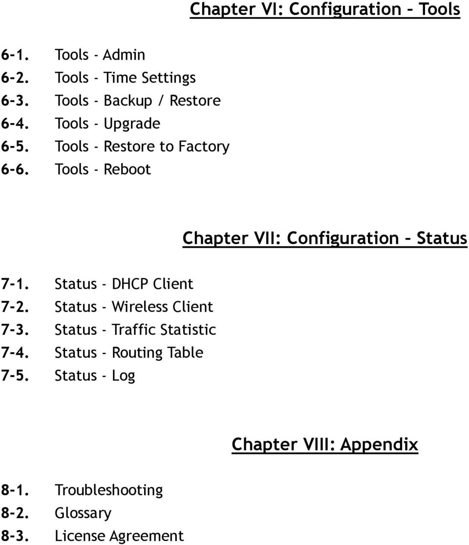 Tools - Reboot Chapter VII: Configuration Status 7-1. Status - DHCP Client 7-2.