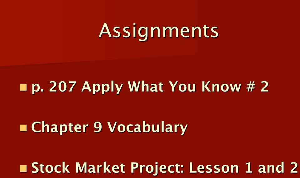 2 n Chapter 9 Vocabulary n