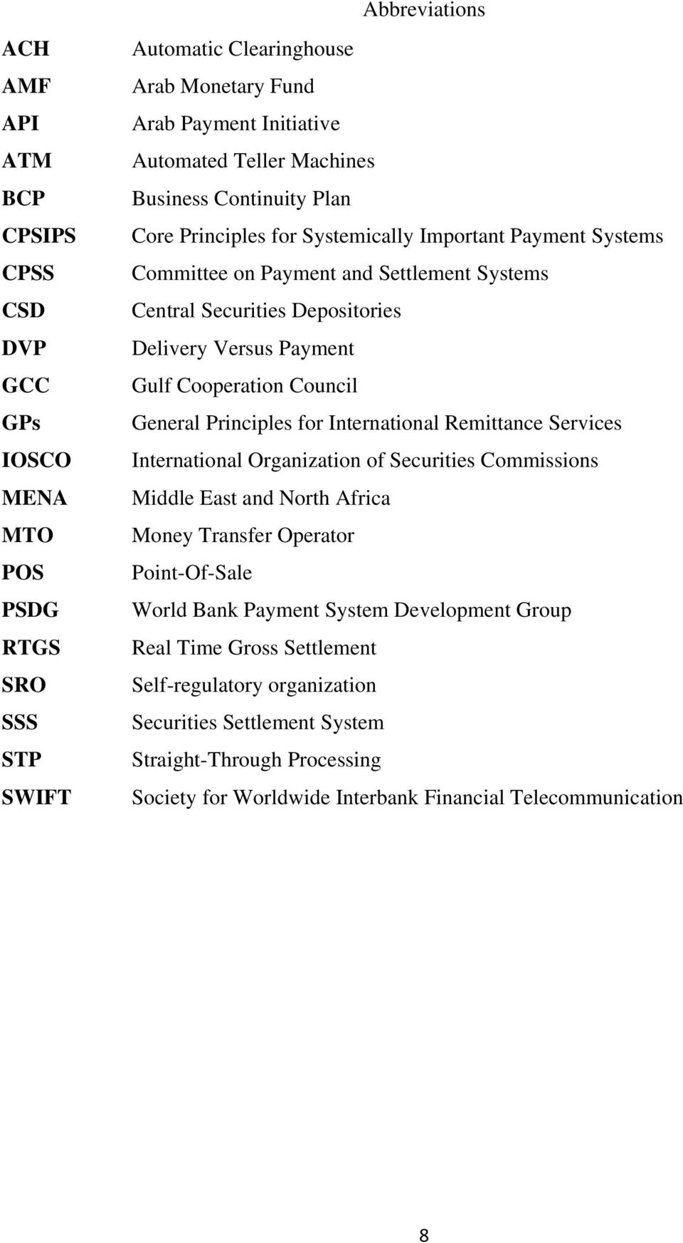 Cooperation Council General Principles for International Remittance Services International Organization of Securities Commissions Middle East and North Africa Money Transfer Operator Point-Of-Sale
