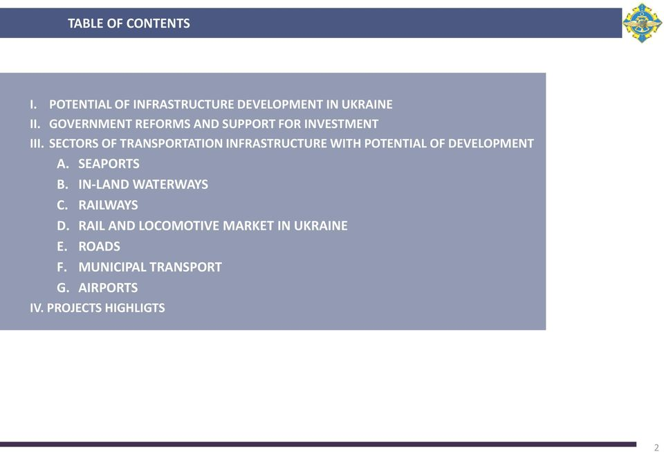 SECTORS OF TRANSPORTATION INFRASTRUCTURE WITH POTENTIAL OF DEVELOPMENT A. B. C. D. E. F.