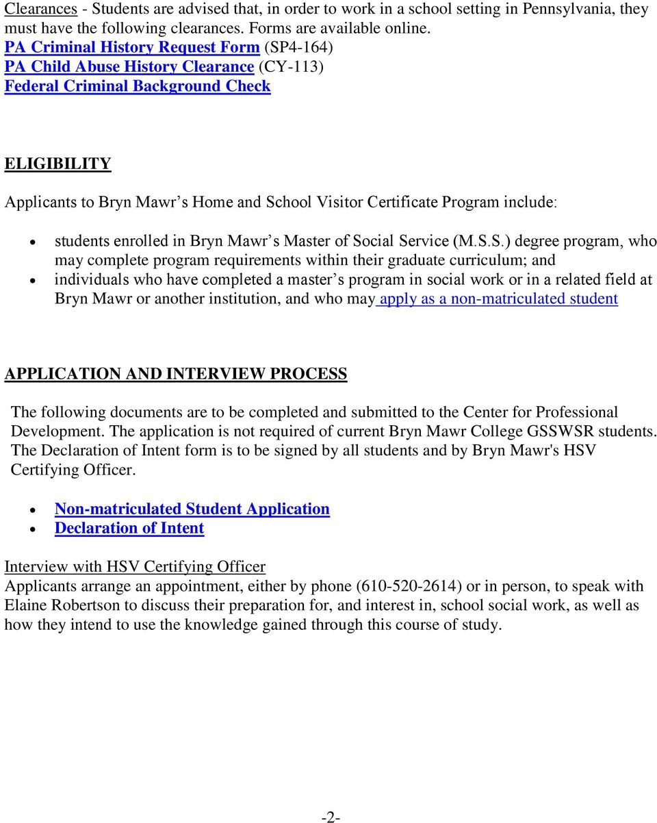 Home And School Visitor Certificate Program Bryn Mawr College
