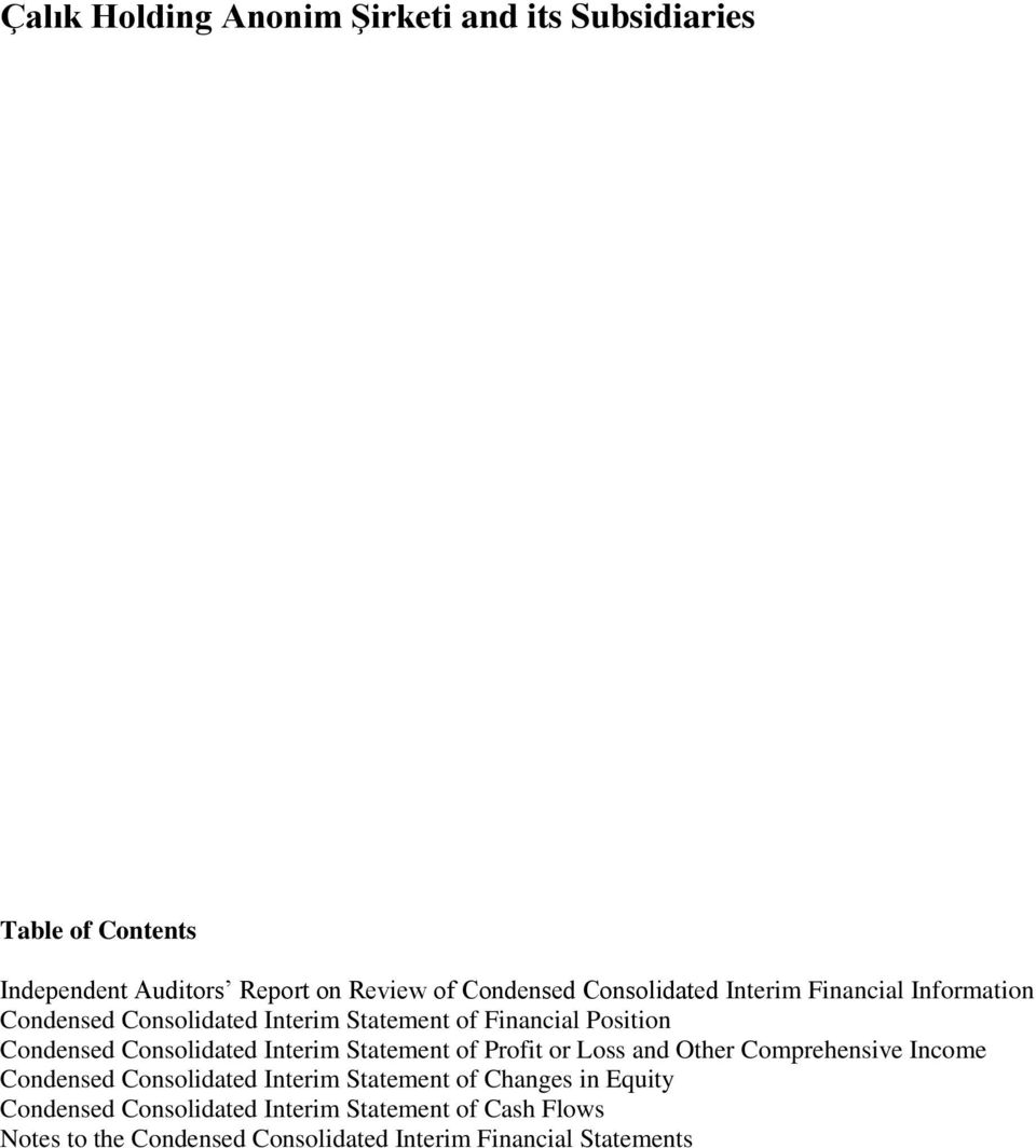 Consolidated Interim Statement of Profit or Loss and Other Comprehensive Income Condensed