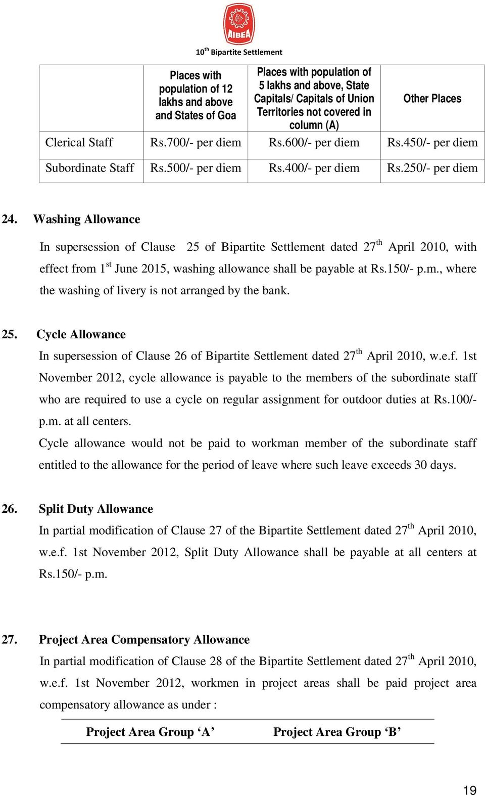 Washing Allowance In supersession of Clause 25 of Bipartite Settlement dated 27 th April 2010, with effect from 1 st June 2015, washing allowance shall be payable at Rs.150/- p.m., where the washing of livery is not arranged by the bank.