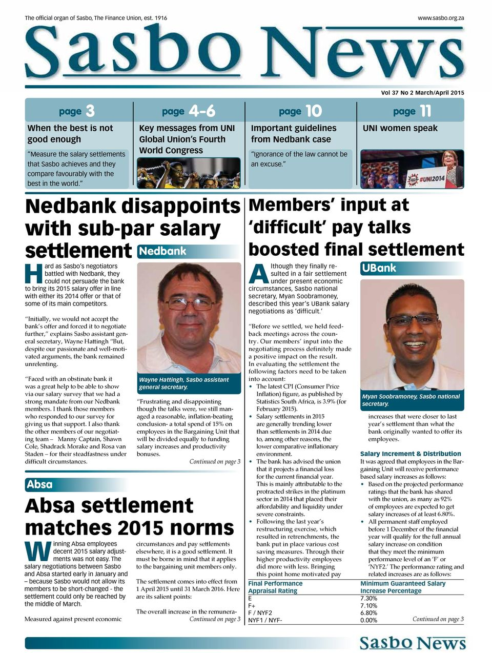 za Vol 37 No 2 March/April 2015 page 3 page 4-6 page 10 page 11 When the best is not good enough Measure the salary settlements that Sasbo achieves and they compare favourably with the best in the