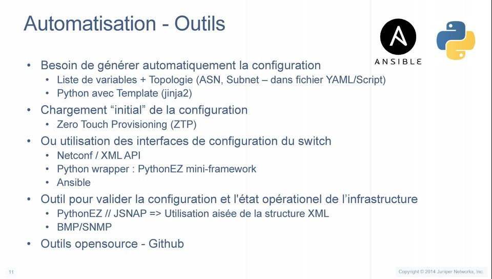 interfaces de configuration du switch Netconf / XML API Python wrapper : PythonEZ mini-framework Ansible Outil pour valider la