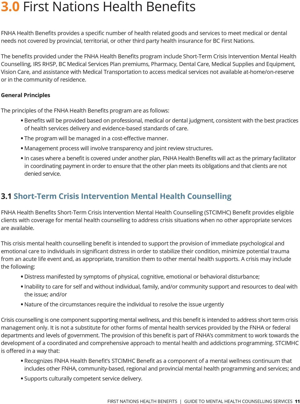 The benefits provided under the FNHA Health Benefits program include Short-Term Crisis Intervention Mental Health Counselling, IRS RHSP, BC Medical Services Plan premiums, Pharmacy, Dental Care,