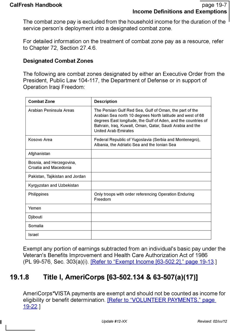 Designated Combat Zones The following are combat zones designated by either an Executive Order from the President, Public Law 104-117, the Department of Defense or in support of Operation Iraqi
