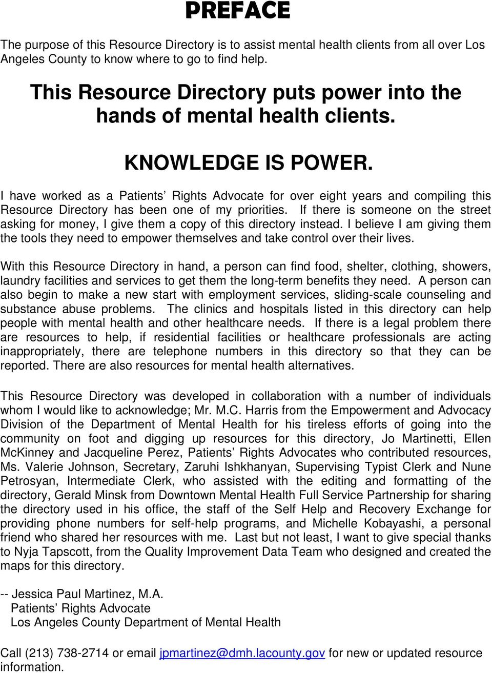 Mental Health Client Resource Directory Patients Rights Office