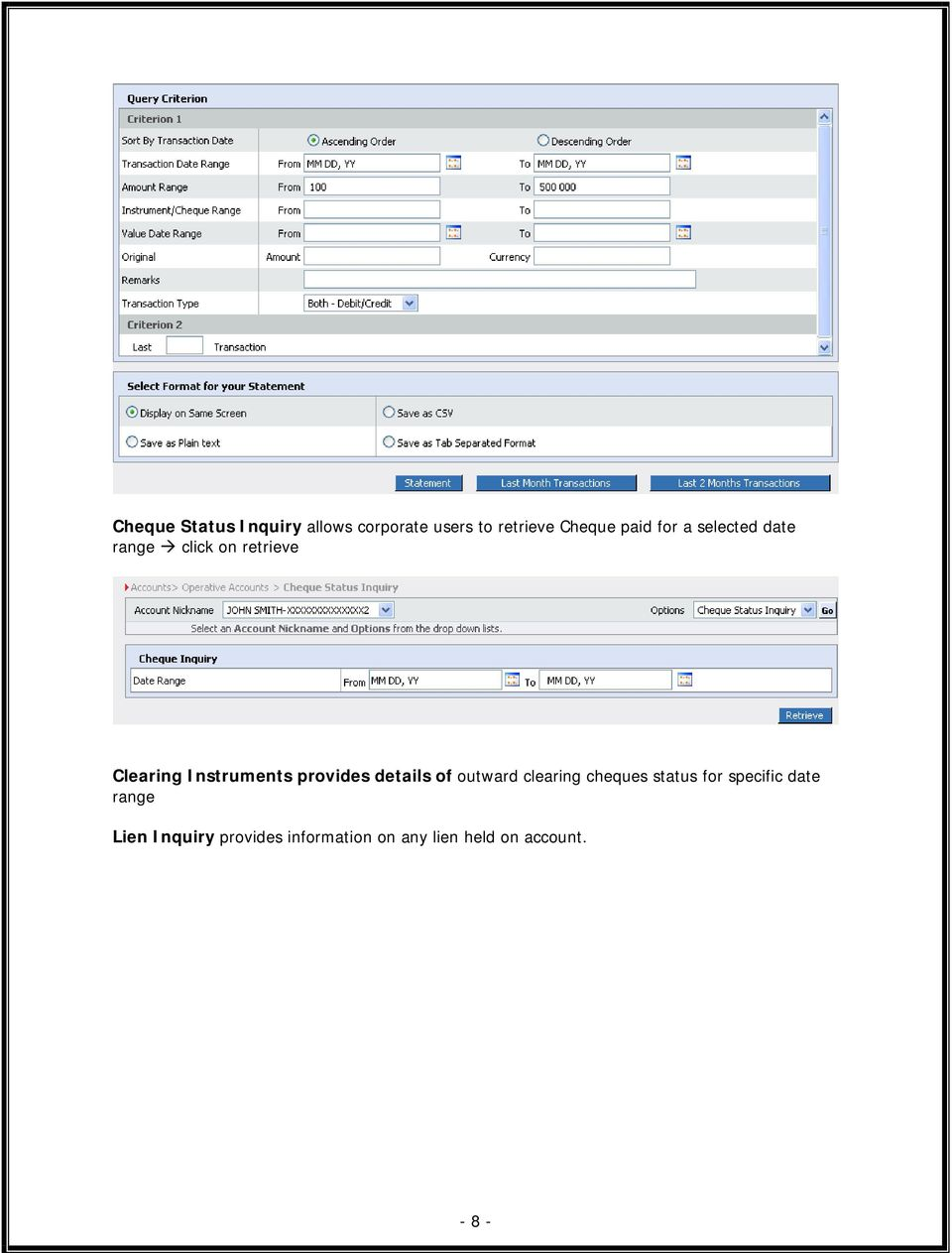 provides details of outward clearing cheques status for specific date