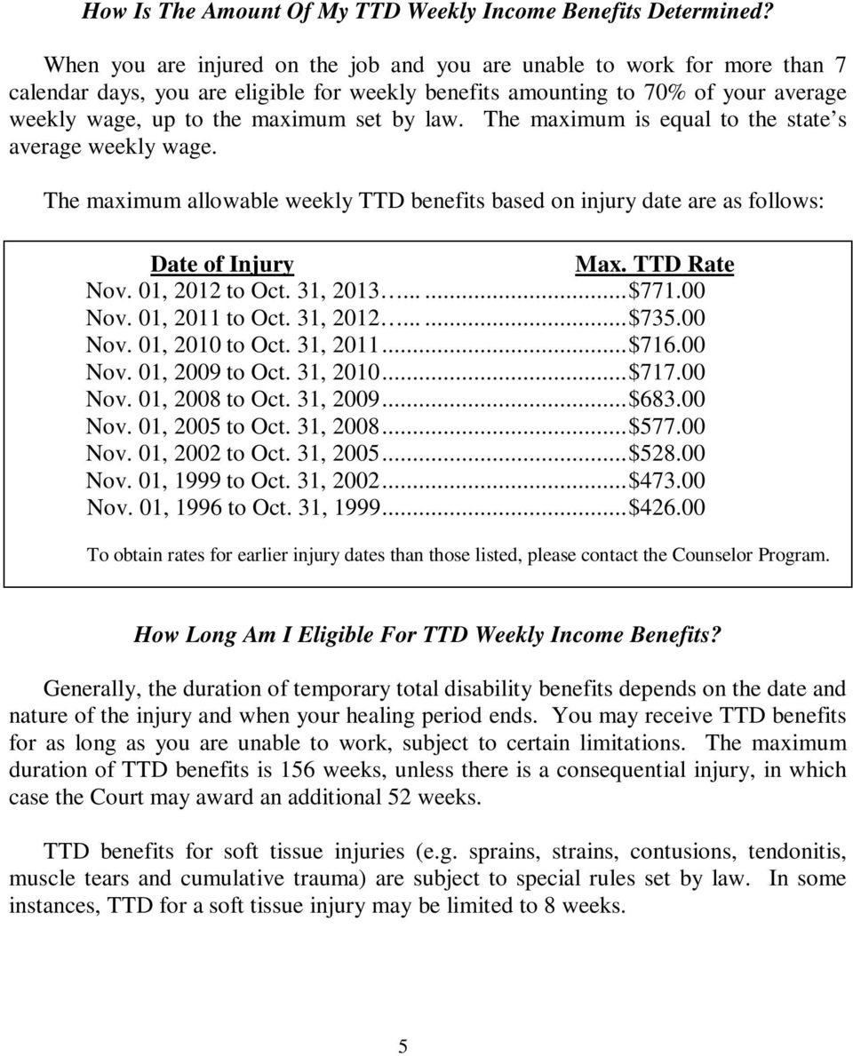 law. The maximum is equal to the state s average weekly wage. The maximum allowable weekly TTD benefits based on injury date are as follows: Date of Injury Max. TTD Rate Nov. 01, 2012 to Oct.