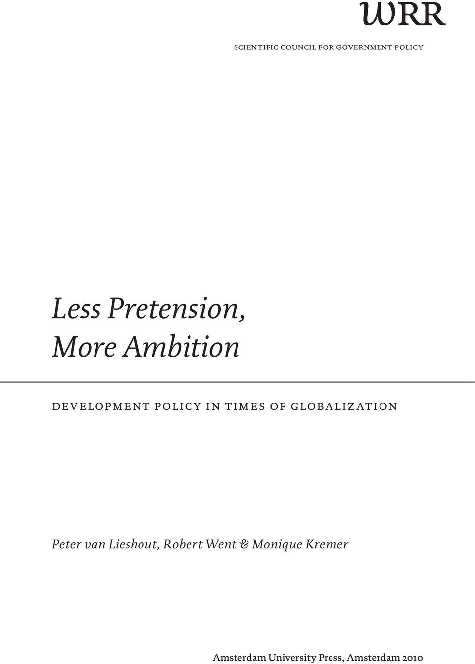 times of globalization Peter van Lieshout, Robert