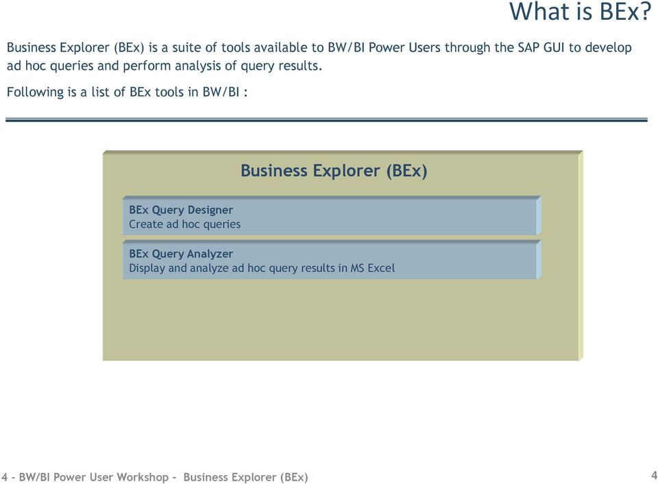 Following is a list of BEx tools in BW/BI : What is BEx?