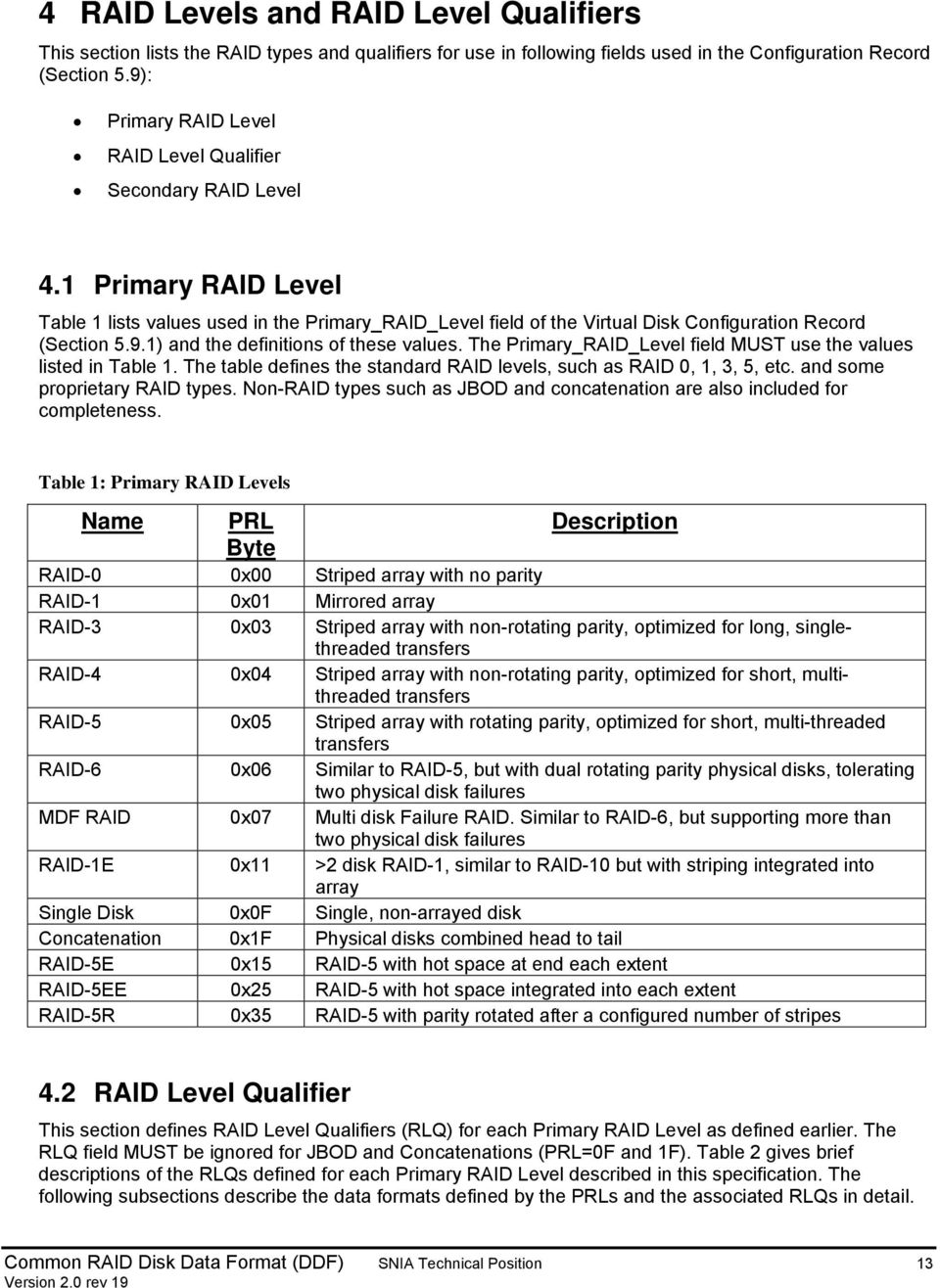 The Primary_RAID_Level field MUST use the values listed in Table 1. The table defines the standard RAID levels, such as RAID 0, 1, 3, 5, etc. and some proprietary RAID types.