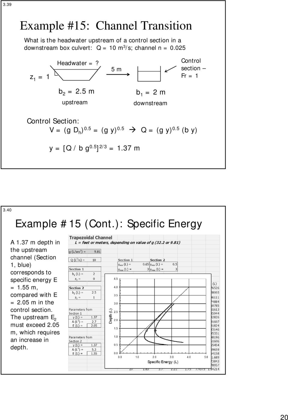 5 (b y) y = [Q / b g 0.5 ] 2/3 = 1.37 m 3.40 Example #15 (Cont.): Specific Energy A 1.