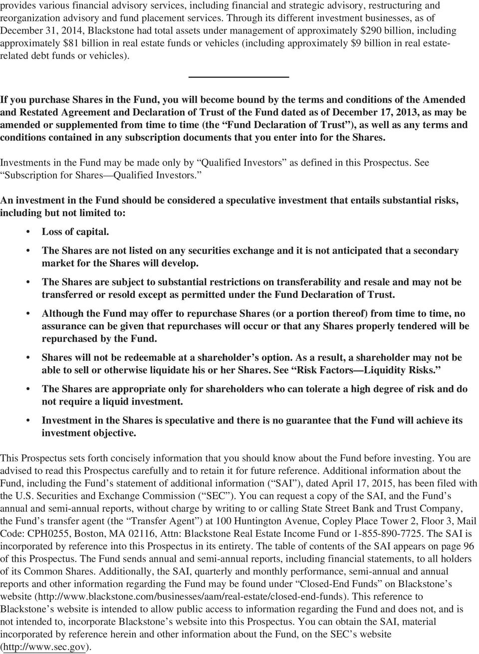 Blackstone real estate income fund pdf funds or vehicles including approximately 9 billion in real estaterelated debt funds or vehicles platinumwayz
