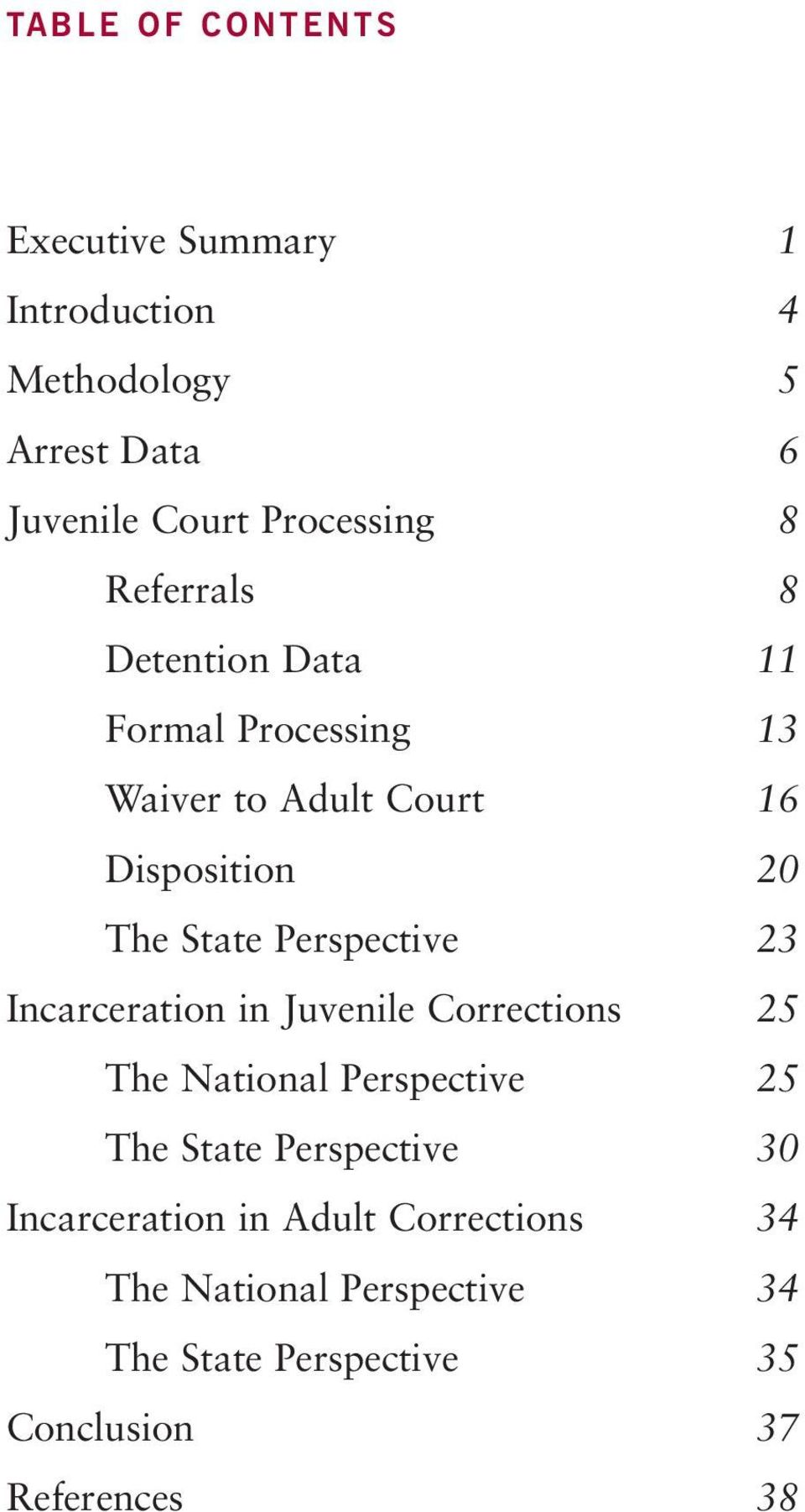 23 Incarceration in Juvenile Corrections 25 The National Perspective 25 The State Perspective 30 Incarceration in