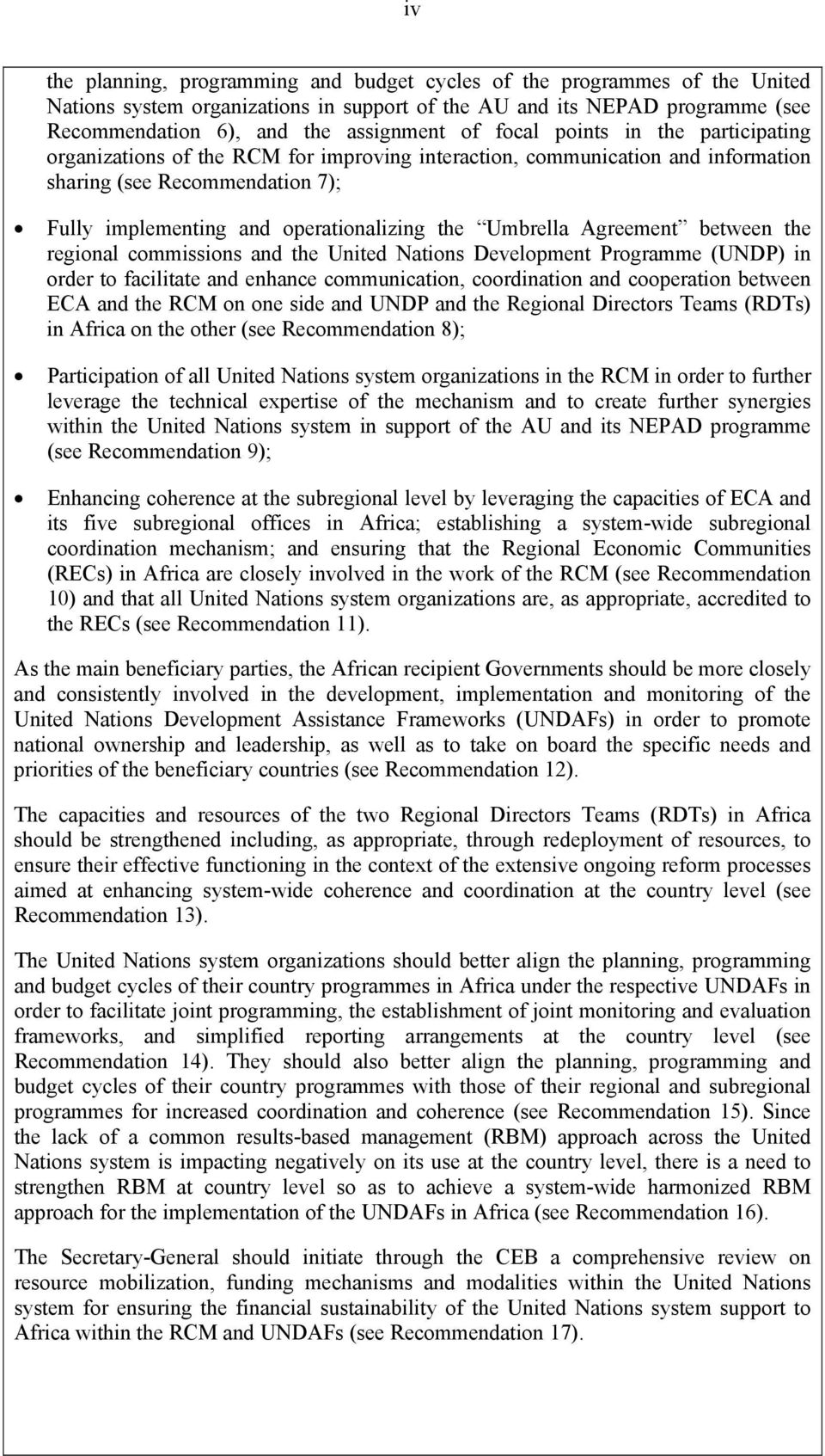 Umbrella Agreement between the regional commissions and the United Nations Development Programme (UNDP) in order to facilitate and enhance communication, coordination and cooperation between ECA and