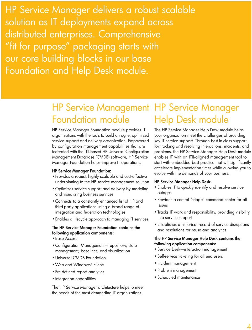 HP Service Foundation module Foundation module provides IT organiza tions with the tools to build an agile, optimized service support and delivery organization.