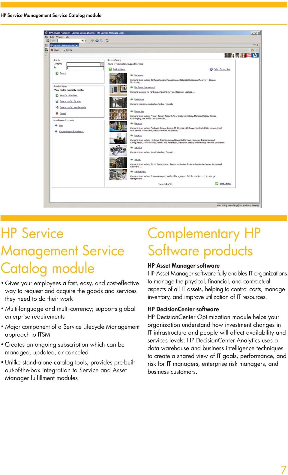 canceled Unlike stand-alone catalog tools, provides pre-built out-of-the-box integration to Service and Asset Manager fulfillment modules Complementary HP Software products HP Asset Manager software