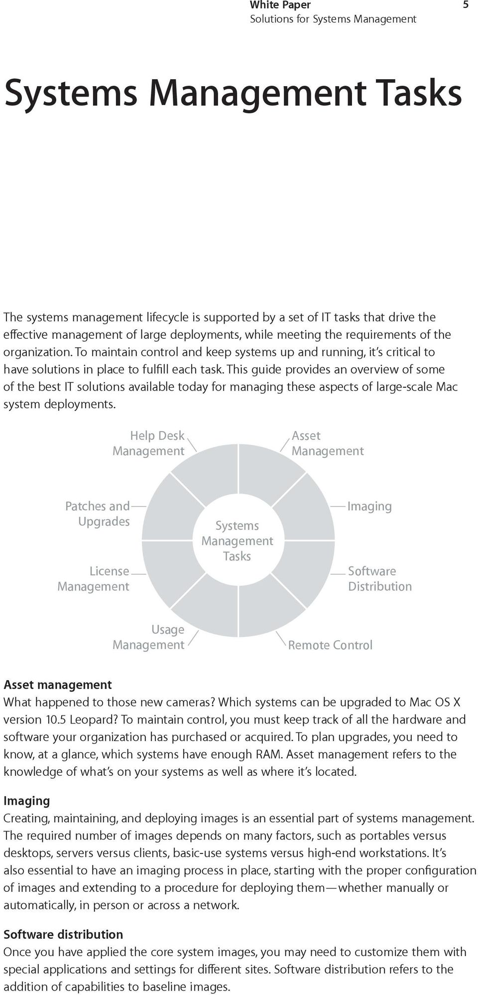 This guide provides an overview of some of the best IT solutions available today for managing these aspects of large-scale Mac system deployments.