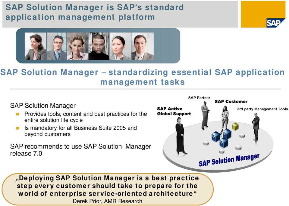 all Business Suite 2005 and beyond customers SAP recommends to use SAP Solution Manager release 7.