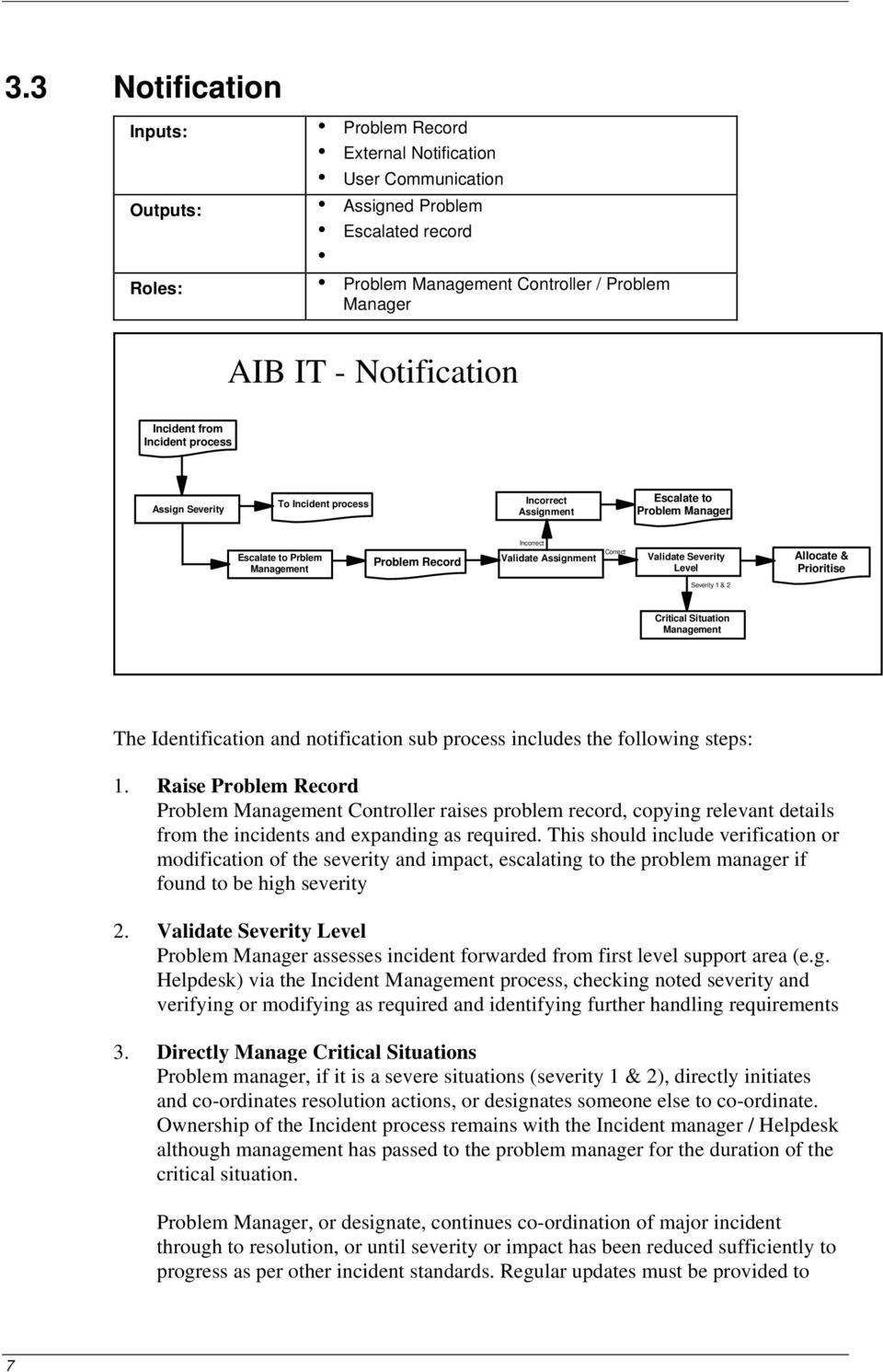 Severity 1 & 2 Critical Situation Management The Identification and notification sub process includes the folloing steps: 1.