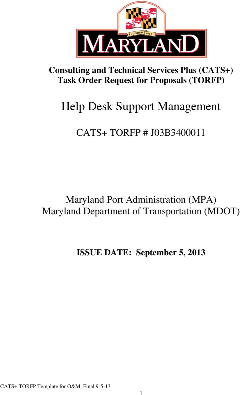 CATS+ TORFP # J03B3400011 Maryland Port Administration (MPA)