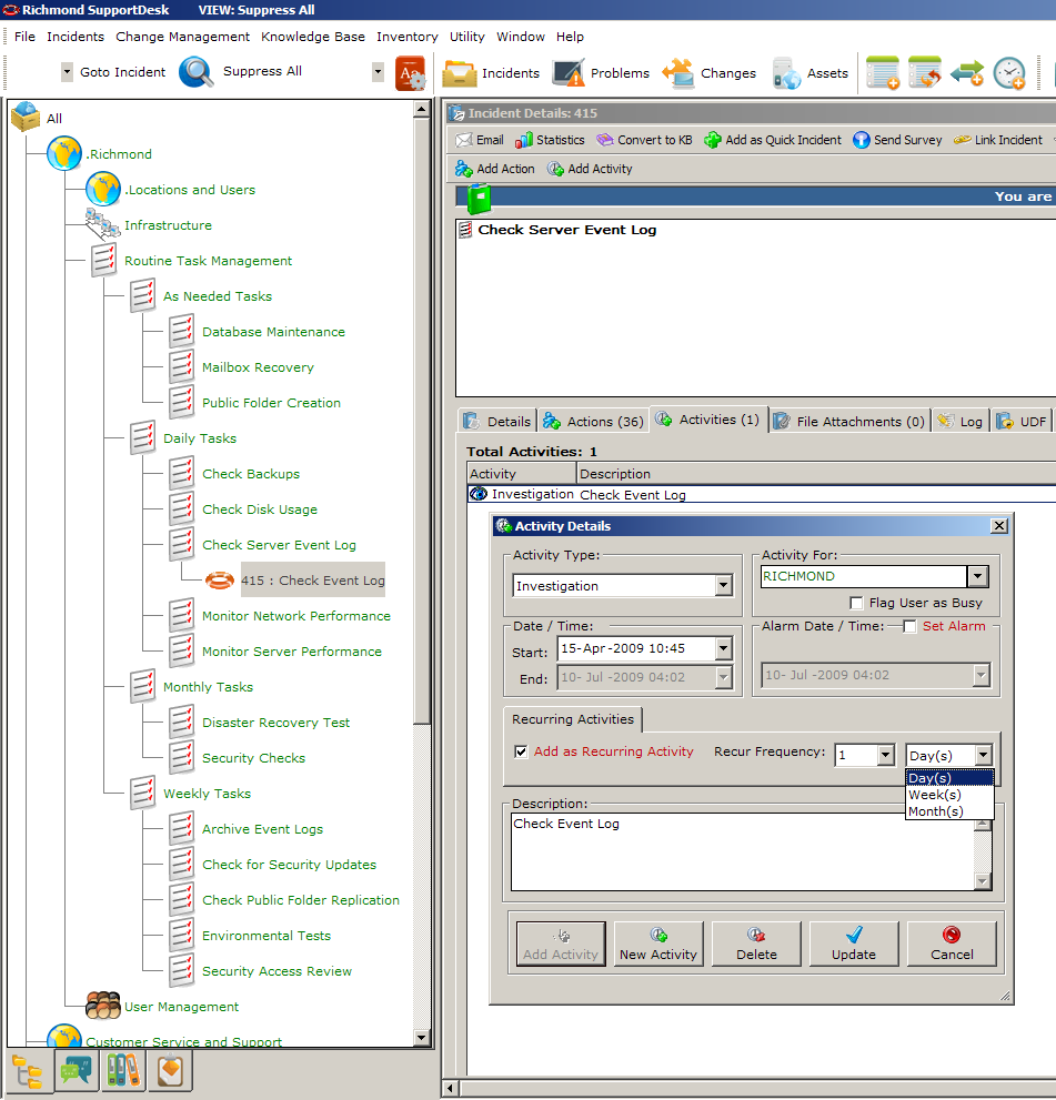 16 Using Recurring Tasks (Activities) Recurring Tasks make use of the Recurring Activities Feature in SupportDesk.