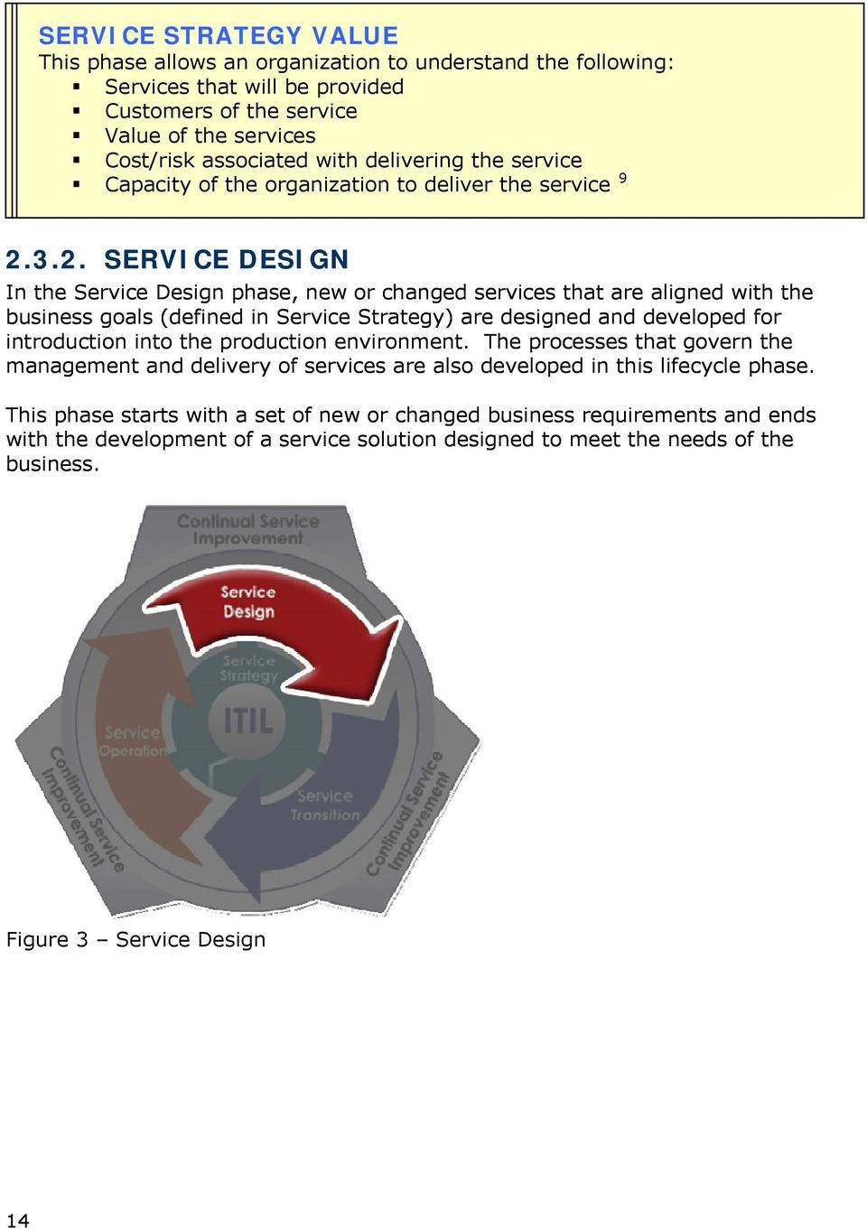 3.2. SERVICE DESIGN In the Service Design phase, new or changed services that are aligned with the business goals (defined in Service Strategy) are designed and developed for introduction into the