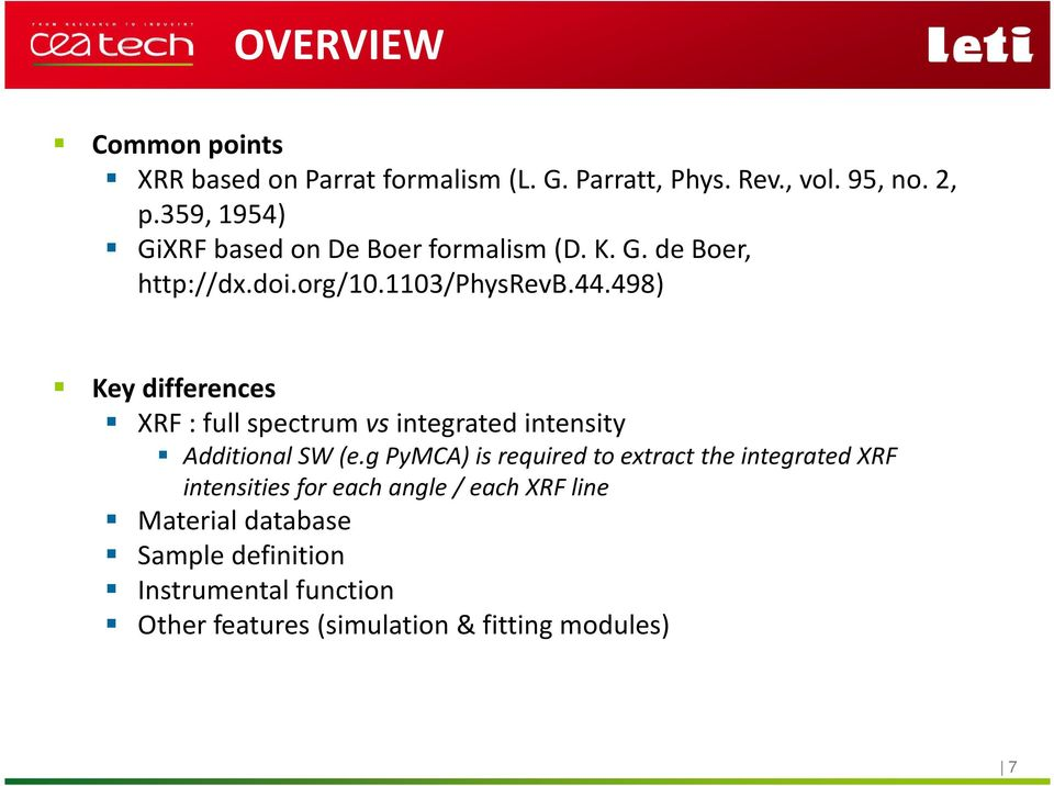 498) Key differences XRF : full spectrum vs integrated intensity Additional SW (e.