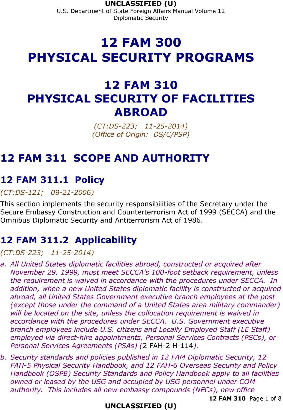 and Antiterrorism Act of 1986. 12 FAM 311.2 Applicability a.