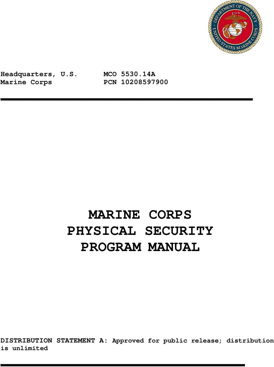 PHYSICAL SECURITY PROGRAM MANUAL DISTRIBUTION