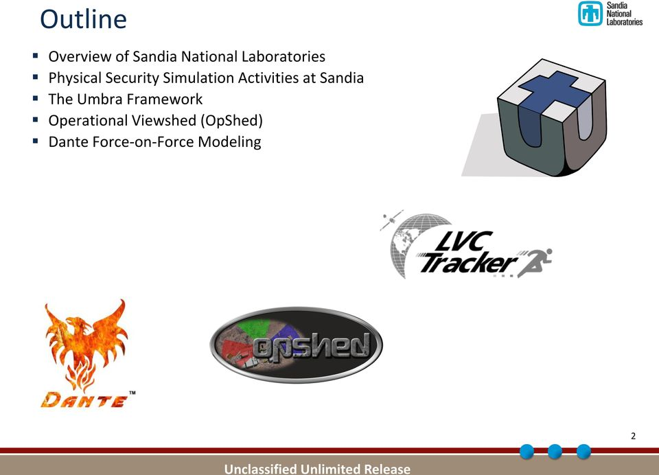 Activities at Sandia The Umbra Framework