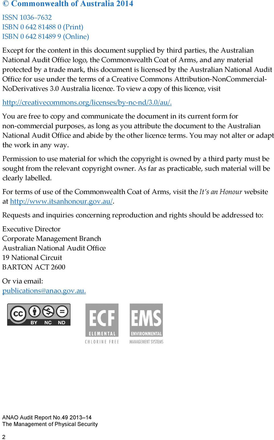 Attribution NonCommercial NoDerivatives 3.0 Australia licence. To view a copy of this licence, visit http://creativecommons.org/licenses/by nc nd/3.0/au/.