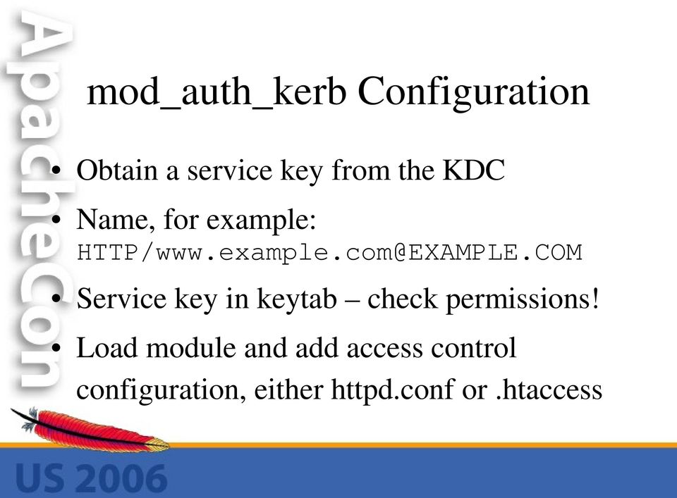 COM Service key in keytab check permissions!