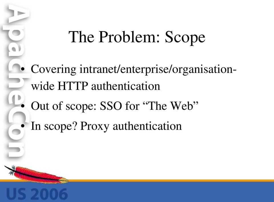 HTTP authentication Out of scope: