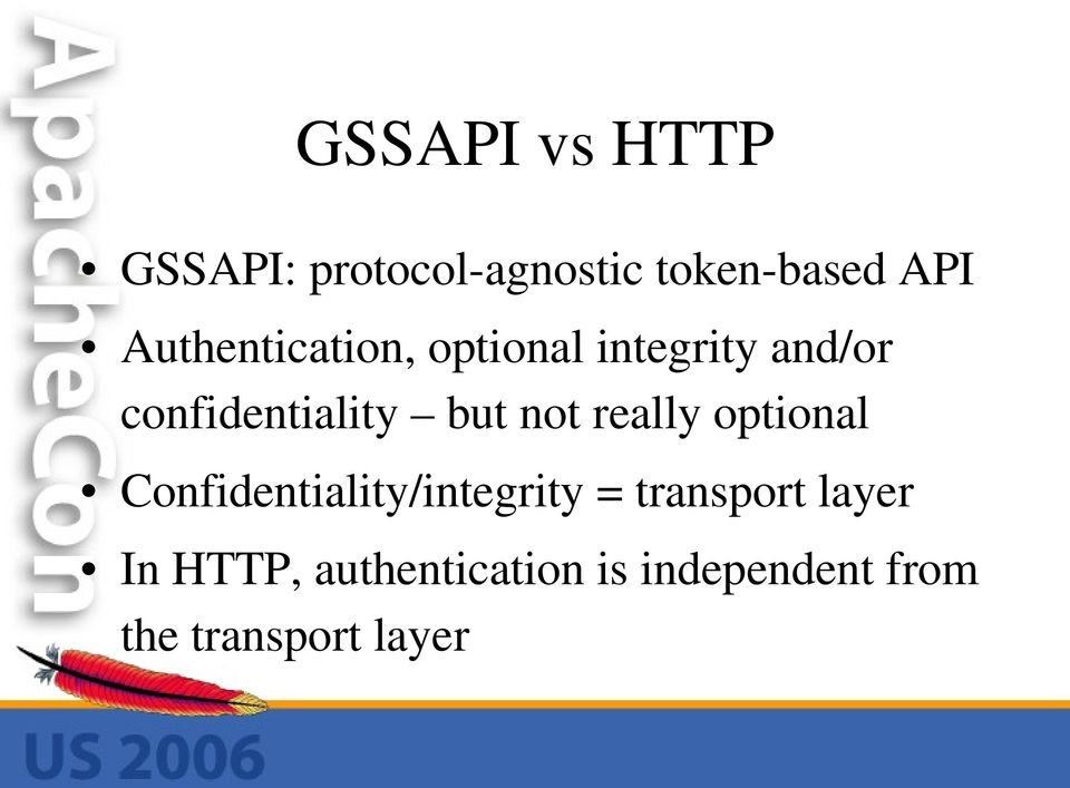 not really optional Confidentiality/integrity = transport